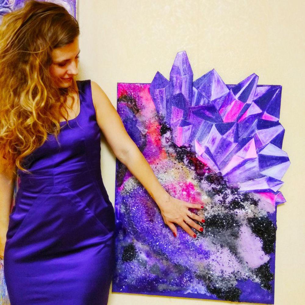 покупатели, фиолетовая картина, картины художника
