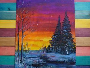 Пишем маслом картину «Зимний вечер». Ярмарка Мастеров - ручная работа, handmade.