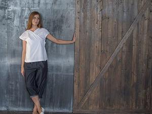 YOKU LOOK: белая блуза-кимоно и брюки оверсайз из шамбре. Ярмарка Мастеров - ручная работа, handmade.