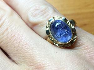Золотое кольцо с Дюмортьеритом в кварце | Ярмарка Мастеров - ручная работа, handmade