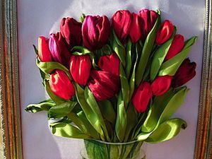 Embroidering Ribbon Tulips? Easily!. Livemaster - handmade