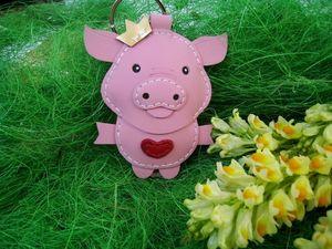 Брелок свинья кожаный. Ярмарка Мастеров - ручная работа, handmade.