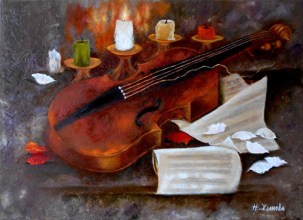 скрипка, свечи, натюрморт с скрипкой, натюрморт маслом, выставка, выставка 2017, художник наталья жданова, violin, still life, oil painting, original painting, exhibition