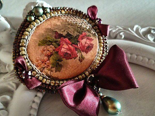 МК по созданию оригинальной броши в технике вышивки бисером и жемчугом | Ярмарка Мастеров - ручная работа, handmade