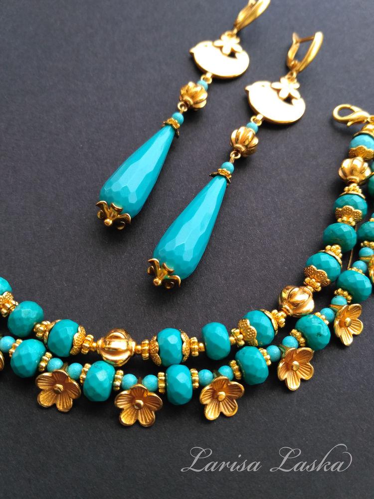 браслет в подарок, браслет из бирюзы, браслет из камней, натуральные камни, комплект украшений, серьги и браслет