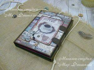 """Мужской фотоальбом (фотопапка) """"Аромат Кофе"""" или . Ярмарка Мастеров - ручная работа, handmade."""