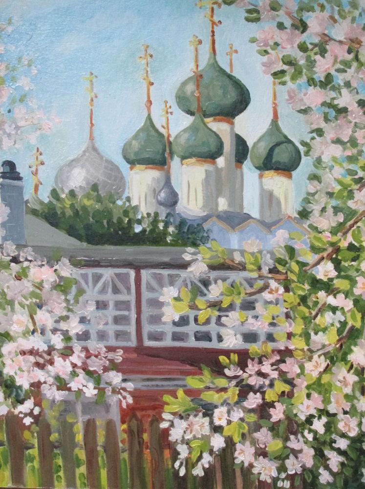 картина маслом, живопись маслом, цветение, православие, сад, красивая картина купить