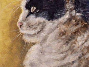 День 87. Картина маслом  «Мудрый кот». Ярмарка Мастеров - ручная работа, handmade.