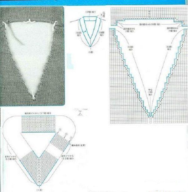 V-образный вырез горловины при вязании реглана сверху 32