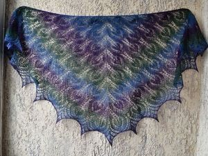 Вязание спицами. Ажурная льняная шаль. Часть 2. | Ярмарка Мастеров - ручная работа, handmade