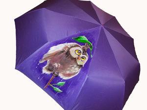 Зонт с ручной росписью полуавтомат складной за 1390 руб. До 01.06.17! | Ярмарка Мастеров - ручная работа, handmade