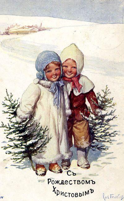 Старинные рождественские открытки: 35 трогательных изображений, фото № 23