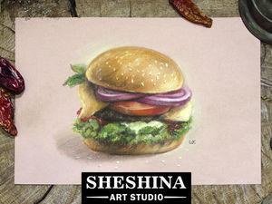 Видеоурок: рисуем гамбургер сухой пастелью. Ярмарка Мастеров - ручная работа, handmade.