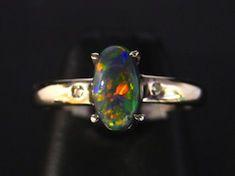 австралийский черный опал - кольцо