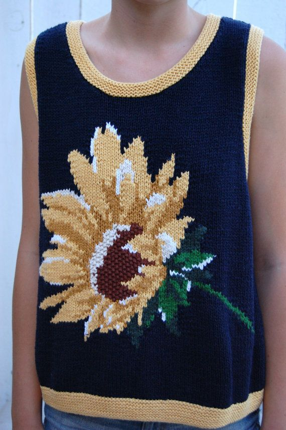 Vintage 90's Sunflower Sweater Vest Shirt Top by anthropolotique, $18.00