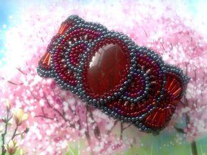 Аукцион на шикарный широкий вышитый бисером браслет с натуральной яшмой — закрыт. Ярмарка Мастеров - ручная работа, handmade.