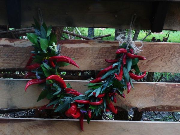 Создаем осеннюю гирлянду из красного перца и пряных трав | Ярмарка Мастеров - ручная работа, handmade