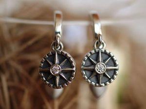 Серьги Роза ветров, серебро 925 с чернением, фианиты. Ярмарка Мастеров - ручная работа, handmade.