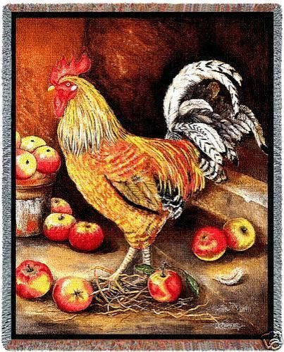 70x54 Rooster Chicken Apples Tapestry Throw Blanket #southwestreflections
