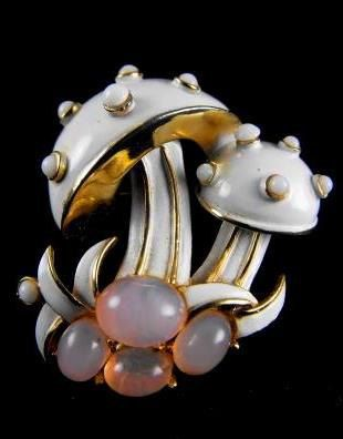 Crown Trifari Brooch - Creamy Enamels, Lucite Moonglow and Gold Fill Mushrooms