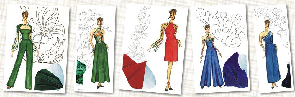 вышивка, вышивка на одежде, вечернее платье