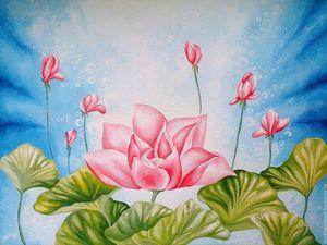 Приглашаю на благотворительную лотерею Картины цветов Легенда о Лотосе. Ярмарка Мастеров - ручная работа, handmade.