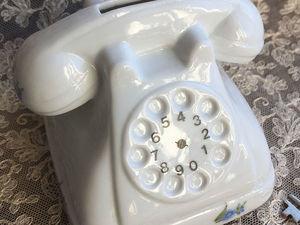 Фарфоровая копилка-телефон с ключиком. Винтаж. Западная Германия. Ярмарка Мастеров - ручная работа, handmade.