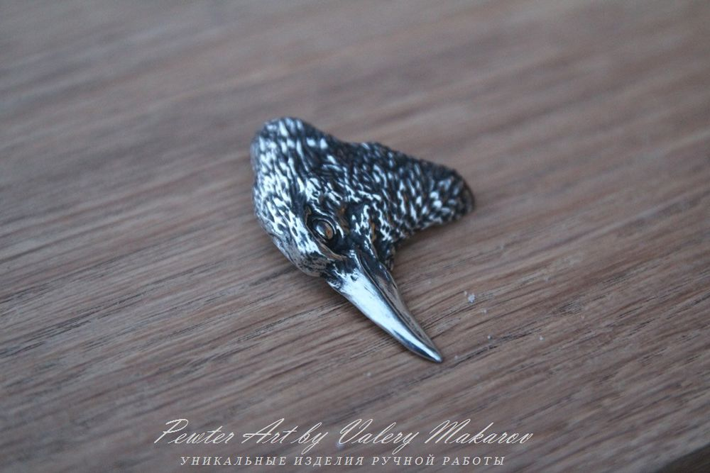 брошь ворон, ворон авторской работы, амулет ворон, ворон символ мудрости