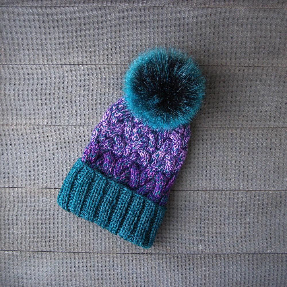 шапка вязаная, шапка с подворотом, шапка сноубордическая, шапка с помпоном