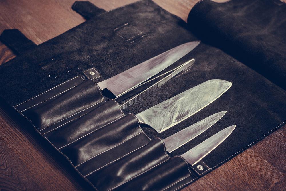 сумка для ножей, натуральная кожа