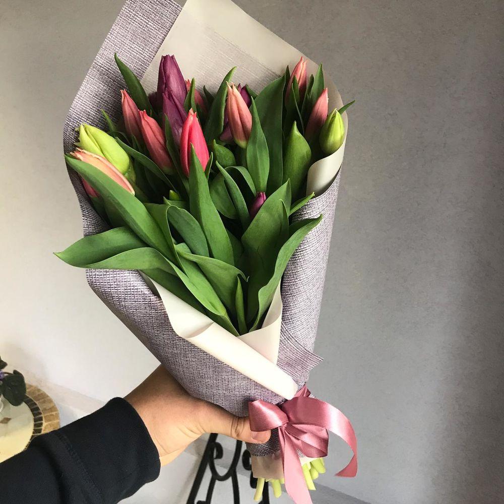 букет цветов, доставка курьером, весна 2019