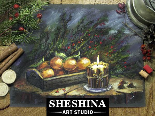 Видеоурок: рисуем рождественский натюрморт со свечой и мандаринами сухой пастелью | Ярмарка Мастеров - ручная работа, handmade