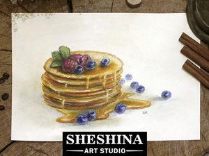 Видеоурок: как нарисовать блины с медом и черникой сухой пастелью. Ярмарка Мастеров - ручная работа, handmade.