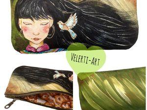 Аукцион на  2 Косметички с ручной росписью + НОВИНКА! | Ярмарка Мастеров - ручная работа, handmade