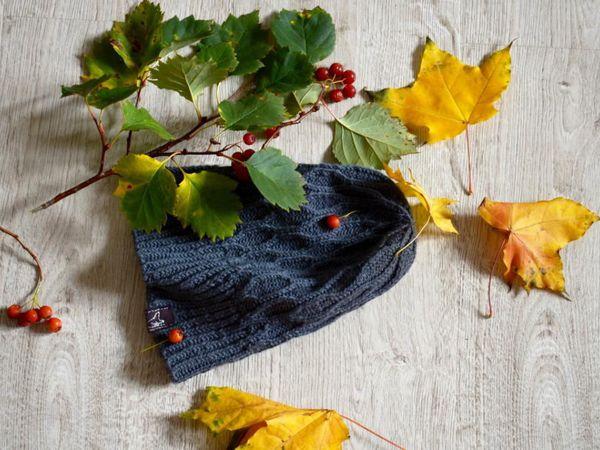 вязаная шапка для осени   Ярмарка Мастеров - ручная работа, handmade