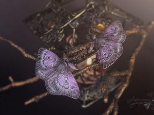 Лиловые мотыльки | Ярмарка Мастеров - ручная работа, handmade