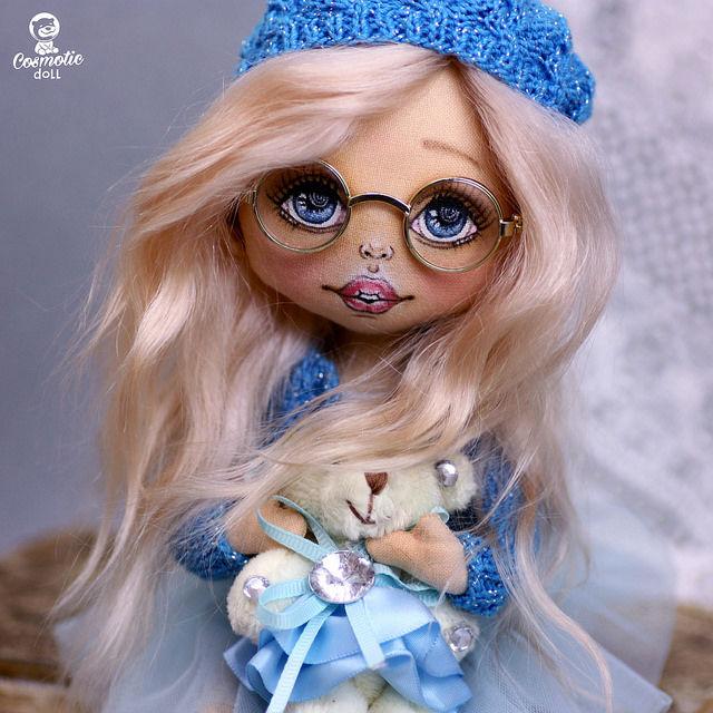 текстильная куколка, кукла из хлопка, кукла коллекционная