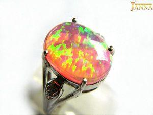 """Розовый опал. """"Розовое солнце"""" кольцо с розовым опалом 4.25 карат. Ярмарка Мастеров - ручная работа, handmade."""