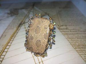 Новинка! Кольцо с окаменелым кораллом.. Ярмарка Мастеров - ручная работа, handmade.