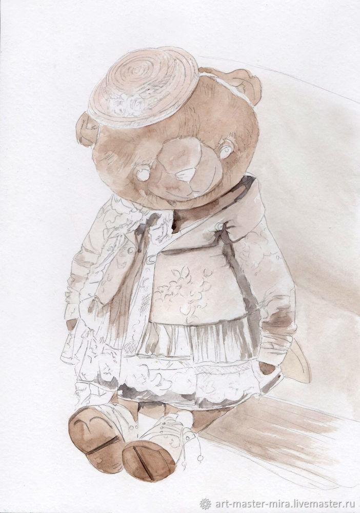 Как нарисовать мишку Тедди акварелью, фото № 3
