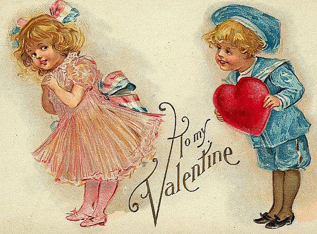 Сова, старинные открытки влюбленных