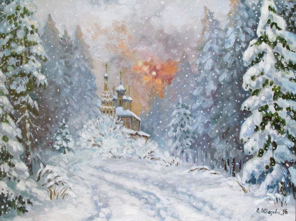 конкурс, картина маслом, ярмарка мастеров, новый год 2017, авторская живопись, елена шведова, зимний пейзаж
