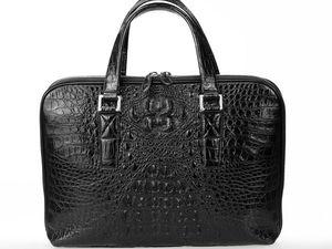 Мужская деловая сумка из натуральной кожи крокодила (видео обзор). Ярмарка Мастеров - ручная работа, handmade.