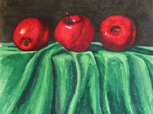 Фрагмент работы над натюрмортом с яблоками Маркерами Touch Three. Ярмарка Мастеров - ручная работа, handmade.