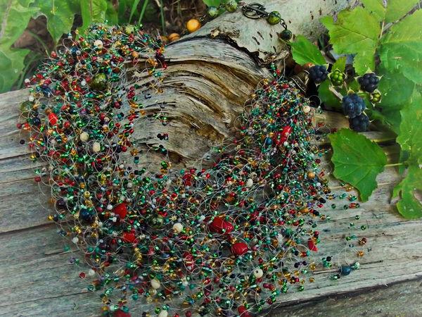 Творим из бисера и бусин: воздушное колье «Осень в лесу» | Ярмарка Мастеров - ручная работа, handmade
