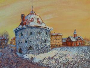 Видео-процесс написания старого города с помощью структурной пасты. Ярмарка Мастеров - ручная работа, handmade.
