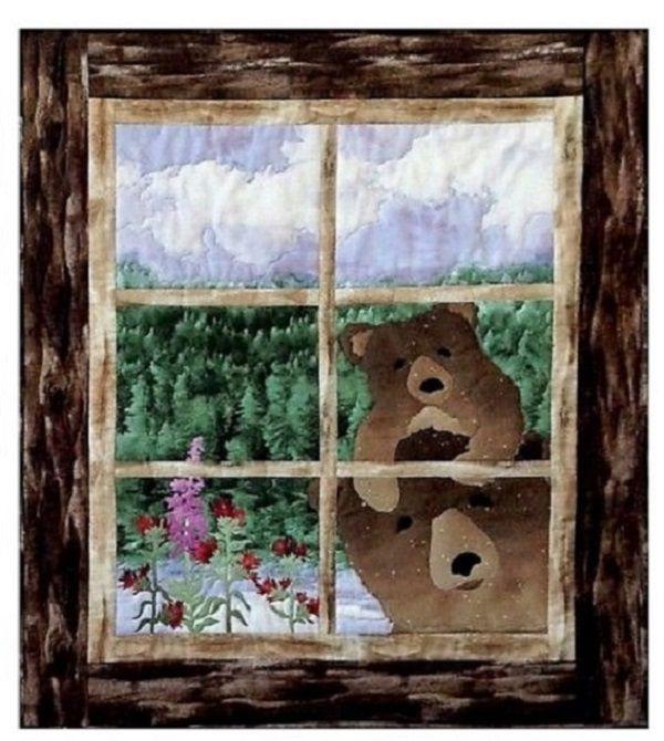 Анимационная открытка медвежонок смотрит в окно