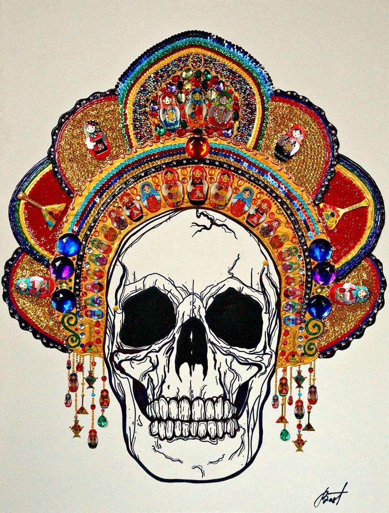 череп в кокошнике, русский кокошник, русский сувенир, сказочная картина, готика, готичная сказка, русские сказки, смерть в кокошнике, матрёшка, русский головной убор