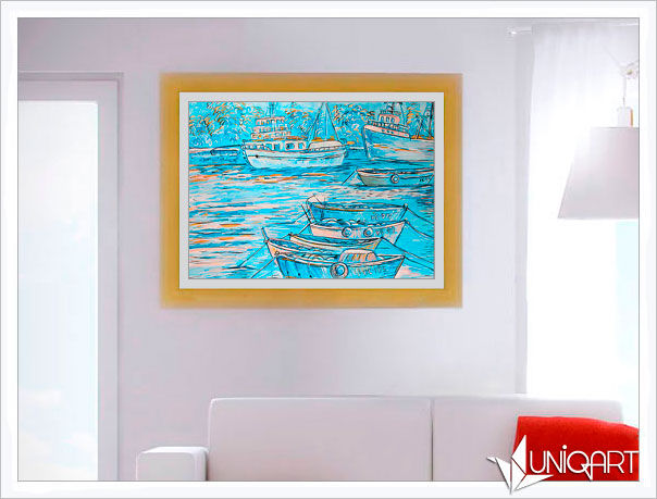 бирюзовый, пейзажи, морской пейзаж, корабль, море, картина для интерьера, интерьерная композиция