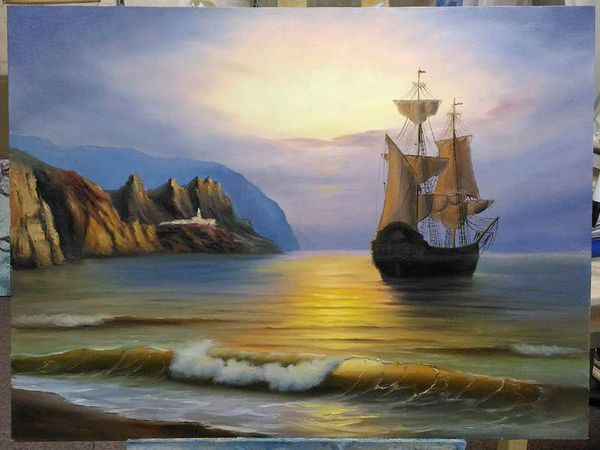 Мастер-класс по живописи маслом. Морской пейзаж.   Ярмарка Мастеров - ручная работа, handmade